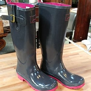 Gray with pink trim rain boots